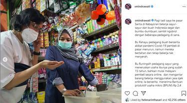 Tangkapan layar Instagram Menteri Keuangan Sri Mulyani Indrawati mengunjungi Pasar Santa di Kebayoran Jakarta.