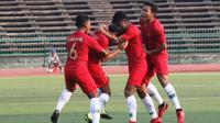 Timnas Indonesia U-22 lolos ke final Piala AFF U-22 2019 setelah mengalahkan Vietnam 1-0 di Olympic Stadium, Phnom Penh, Minggu (24/2/2019). (Bola.com/Zulfirdaus Harahap)