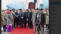 Presiden Jokowi sampai di Afghanistan (Foto: Twitter Pramono Anung)