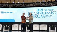 Menteri Keuangan RI Sri Mulyani dan Direktur Utama BRI Sunarso saat acara BRI Group Economic Forum 2020 di Ritz Carlton Pacific Place, Jakarta, Rabu (29/1/2020).