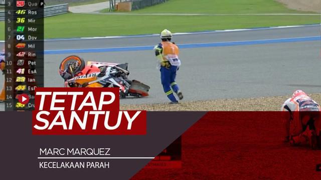 Berita video insiden kecelakaan parah Marc Marquez di Free Practice 1 MotoGP Thailand, Jumat (5/10/2019).
