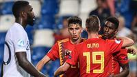 Timnas Spanyol lolos ke babak final Piala Eropa U-21 usai mengalahkan Prancis 4-1. (Miguel Mediana / AFP)