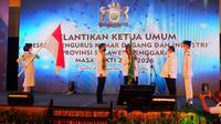 Pelantikan Anggota Kadin Sultra, salah satu anggotanya Ketua Walhi Sultra, Saharuddin.(Liputan6.com/Ahmad Akbar Fua)