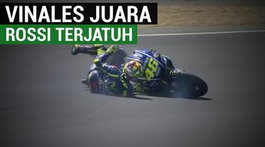 Berita video highlights balapan MotoGP 2017, di mana pebalao Movistar Yamaha, Maverick Vinales, menjadi juara kali ini. Sementara itu, rekan setimnya, Valentino Rossi, terjatuh pada lap terakhir. Pebalap Repsol Honda, Marc Marquez, juga terjatuh pada...