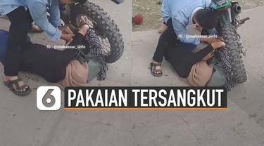 Beredar video pakaian perempuan masuk dalam jari-jari ban motor viral di media sosial. Beruntungnya tidak ada korban jiwa saat kejadian itu terjadi.