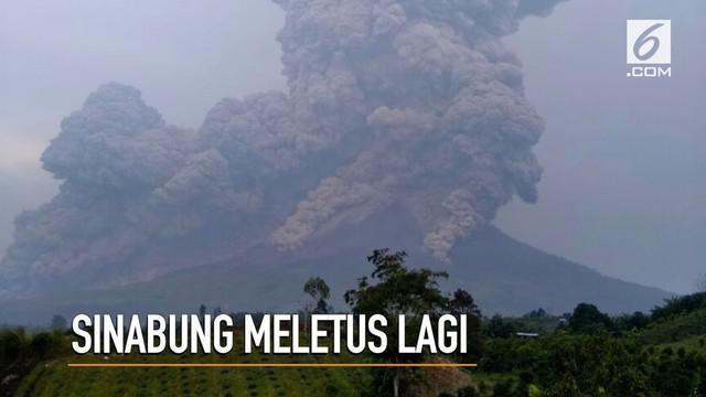 Gunung Sinabung meletus lagi dan memuntahkan awan panas sejauh 5 ribu meter.