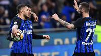 Inter Milan memastikan diri lolos ke Liga Champions musim depan setelah mengalahkan Lazio pada pekan ke-38 Serie A 2017-2018 yang berlangsung di Stadion Olimpico, Minggu (20/5/2018) atau Senin (21/5/2018) dini hari WIB. (AFP/Miguel Medina)