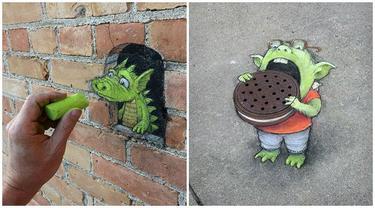 Seniman Ini Buat Lukisan Bermodal Kapur di Jalanan, 7 Hasilnya Mengagumkan