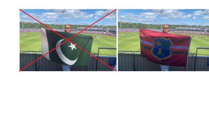 Perhatikan foto klaim netizen (kiri) dan unggahan di Twitter ICC (kanan)