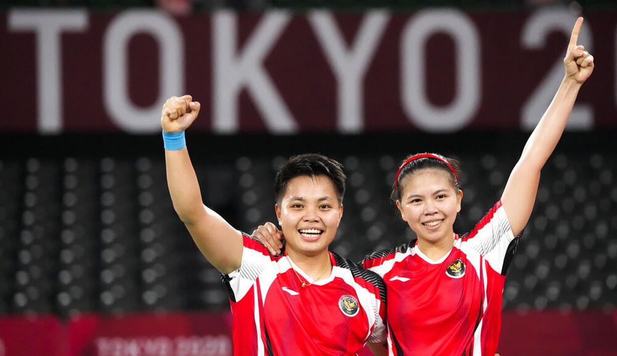 Pasangan ganda putri Indonesia, Greysia Polii/Apriyani Rahayu, akhirnya memastikan satu tempat di laga final Olimpiade Tokyo 2020. (Foto: AP/Markus Schreiber)