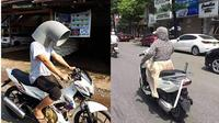 6 Potret Nyeleneh Orang Bawa Barang di Motor Ini Kocak (sumber: Instagram.com/wkwkland_real)