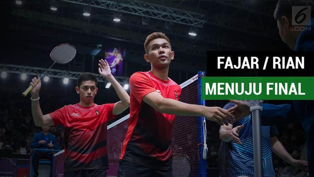 Fajar / Rian menang atas pasangan asal China, Li Junhui/Liu Yuchen, pada laga semifinal Asian Games 2018, di Istora Senayan, Jakarta, Senin (27/8/2018).