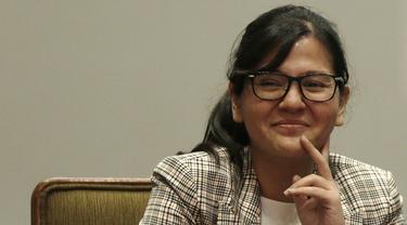 Sekjen PSSI, Ratu Tisha, saat jumpa pers Garuda Select di Hotel Sultan, Jakarta, Jumat (17/5). Garuda Select kembali ke Indonesia usai menjalani pelatihan dan uji coba di Inggris. (Bola.com/Yoppy Renato)