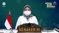 Menteri Ketenagakerjaan Ida Fauziyah saat apel dan doa bersama secara virtual yang diikuti oleh seluruh pegawai Kemnaker di Kantor Pusat maupun UPTP yang tersebar di seluruh Indonesia, Senin (12/7).