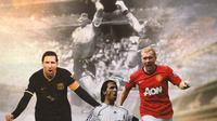 Ilustrasi - Lionel Messi, Raul Gonzales, Paul Scholes dan Gol Tangan Tuhan (Bola.com/Adreanus Titus)