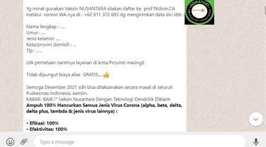 Cek Fakta Liputan6.com menemukan informasi terkait pendaftaran penerima vaksin Nusantara
