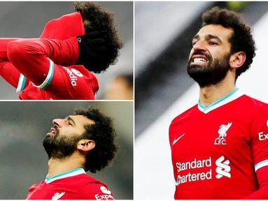 Penyerang Liverpool, Mohamed Salah, tampak begitu kecewa usai kesempatannya mencetak gol digagalkan kiper Newcastle United, Karl Darlow, pada laga Liga Inggris di Stadion St James' Park, Rabu (30/12/2020). Laga tersebut pun berakhir dengan skor kacamata.