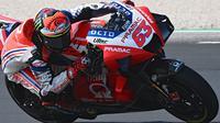 Selain menjadi podium pertama di MotoGP 2020, raihan peringkat ketiga pada balapan di Misano menjadi kado buat Francesco Bagnaia yang baru pulih dari cedera lutut. (AFP/Andreas Solaro)