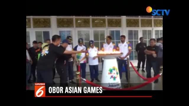 Rombongan estafet obor Asian Games 2018 dilepas dari rumah dinas Wali Kota Palembang.