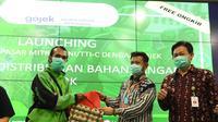Menteri Pertanian Syahrul Yasin Limpo saat acara Launching Kerja Sama Pasar Mitra Tani/TTI-C dengan Gojek untuk Pendistribusian Bahan Pangan Pokok. di Kantor Pusat Kementerian Pertanian (3/4).