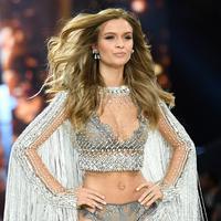 Model Denmark, Josephine Skriver memperagakan lingerie yang dihiasi lebih dari 450.000 kristal  di atas panggung Victoria's Secret Fashion Show 2016 di Grand Palais, Paris, Selasa (30/11). (AFP PHOTO/Martin BUREAU)