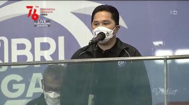 Menteri Badan Usaha Milik Negara (BUMN) Erick Thohir ikut hadir secara langsung dalam pembukaan BRI Liga 1 2021/2022 di Stadion Utama Gelora Bung Karno Jakarta, Jumat (27/8/2021).