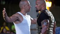 Dua bintang Fast and Furious, Vin Diesel dan Dwayne Johnson.