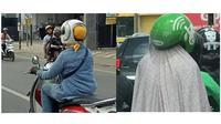 Emak pakai helm (Sumber: Instagram/1cak/dramaojol_id)