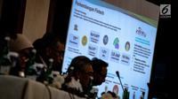 Otoritas Jasa Keuangan (OJK) menggelar jumpa pers tutup tahun 2018 di Gedung OJK, Jakarta, Rabu (19/12). Hingga akhir 2018, OJK mencatat sektor jasa keuangan Indonesia menunjukkan kondisi stabil. (Liputan6.com/Faizal Fanani)