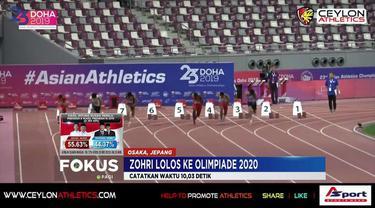 Finis posisi ketiga di lari 100 meter putra Golden Grand Prix Osaka 2019, Lalu Muhammad Zohri dipastikan lolos kualifikasi Olimpiade Tokyo 2020.