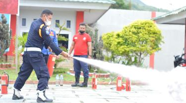 Simulasi kebakaran di Lapas Kelas IIA Gorontalo Foto: hms (Arfandi Ibrahim/Liputan6.com)