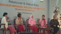 Diskusi tentang minat baca di peluncuran buku budaya daerah. (Liputan6.com/Henry)