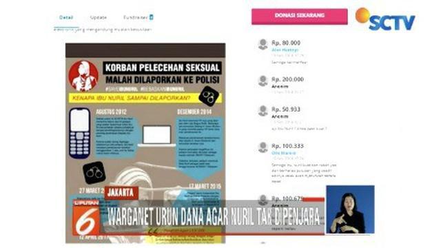 Prihatin atas kasus hukum yang menimpa Nuril, warganet menggalang dana lewat sebuah situs agar Baiq Nuril bisa bebas.