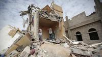 Ilustrasi Perang Yaman (AP Photo/Hani Mohammed, File)