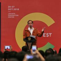 Presiden Jokowi meresmikan pembukaan IdeaFest 2018 di JCC Senayan, Jumat (26/10). (Foto: fimela.com/Adrian Putra)