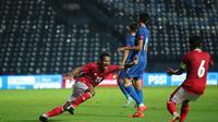 Pemain debutan Timnas Indonesia, Ramai Rumakiek, saat mencetak gol ke gawang Chinese Taipei dalam laga leg pertama play-off kualifikasi Piala Asia 2023 di Buriram Stadium, Thailand, Kamis (7/10/2021).