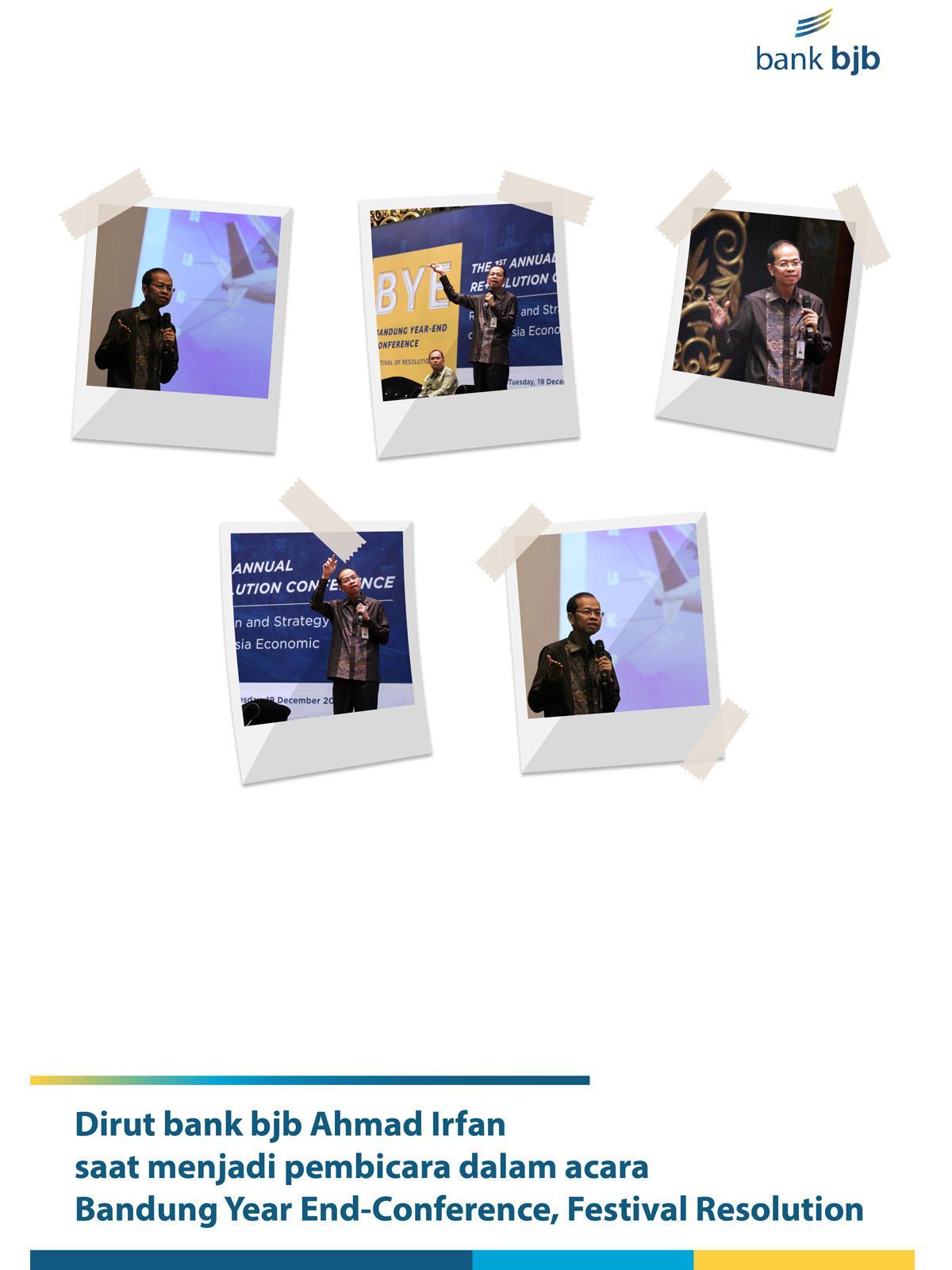 TANTANGAN TEKNOLOGI, Direktur Utama bank bjb Ahmad Irfan saat menjadi pembicara pada Bandung Year-End Conference, Festival of Resolution, di Bandung 19 Desember 2017.