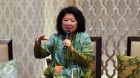 Founder of  Purana Nonita Respati, Mari Elka Pangestu saat memberikan paparan mengenai peran strategis womenpreneur dalam perekonomian Indonesia di Jakarta, Jumat (21/04). (Liputan6.com/Gempur Surya)