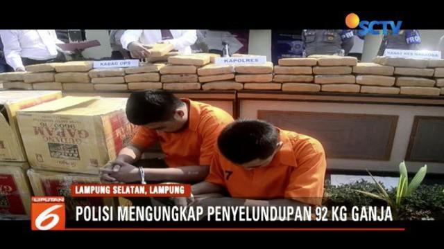 Polisi berhasil gagalkan penyelundupan ganja seberat 92 kilogram yang akan dibawa dari Sumatra ke Jawa.