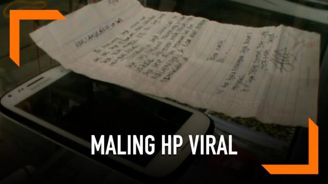 Seorang pencuri HP mengembalikan barang curian tersebut beserta dengan surat permintaan maaf pada korban di Depok.
