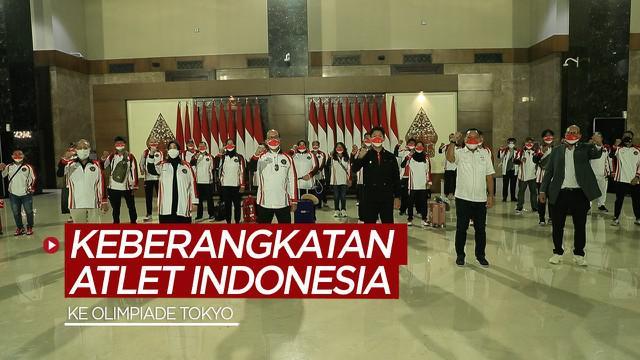 Berita video keberangkatan 13 atlet Indonesia dari 5 cabang olahraga (cabor) ke Olimpiade Tokyo pada Sabtu (17/7/2021) malam hari WIB.