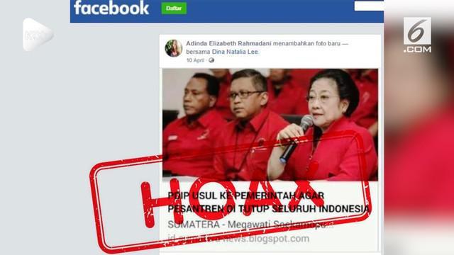 Ketua Umum PDIP Megawati Soekarnoputri menjadi target penyebaran kabar bohong atau hoaks.