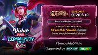 Jadwal dan Live Streaming Vidio Community Cup Ladies Season 5 Mobile Legends Series 10 di Vidio, Rabu 6 Oktober 2021. (Sumber : dok. vidio.com)