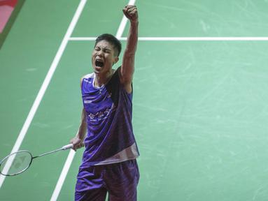 Ekspresi Chou Tien Chen usai mengalahkan Anders Antonsen di final tunggal putera Indonesia Open 2019 melalui pertarungan ketat 3 gim dengan skor 21-18 24-26 21-15 di Istora Senayan, Jakarta, Minggu (21/7/2019). (Bola.com/Peksi Cahyo)