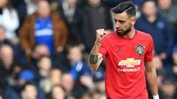 Penampilan gemilang Bruno Fernandes membuat skuat Setan Merah terus menunjukkan grafik peningkatan. Kini pemain Timnas Portugal itu menjadi bintang baru di Manchester United. (AFP/Paul Ellis)