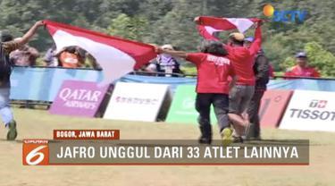 Atlet paralayang Indonesia, Jafro Megawanto, rebut medali emas dengan nomor akurasi tunggal putra.