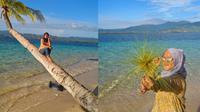 Wisatawan nampak sedang berpose dengan latar belakangan keindahan pemandangan pulau. (Liputan6.com/ Arfandi Ibrahim)