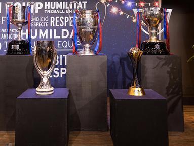 Deretan trofi yang diraih Barcelona FC pada tahun 2015, Juara La Liga 2014/2015, Copa del Rey 2015, UEFA Champions League 2015, UEFA Super Cup dan FIFA Club World Cup.(Photo/FCB Site)
