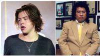 Harry Styles dan Hotman Paris saat masih sama-sama berambut gondrong. (dok.Twitter @genuinelylarry/https://twitter.com/genuinelylarry/status/1115813083513929729/Henry