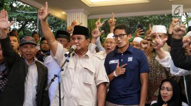 Didampingi Sandiaga, Prabowo Kembali Deklarasi Menang Pilpres